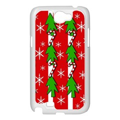 Christmas tree pattern - red Samsung Galaxy Note 2 Case (White)
