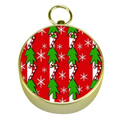 Christmas tree pattern - red Gold Compasses