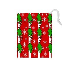 Christmas tree pattern - red Drawstring Pouches (Medium)
