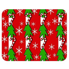 Christmas tree pattern - red Double Sided Flano Blanket (Medium)