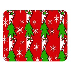 Christmas tree pattern - red Double Sided Flano Blanket (Large)