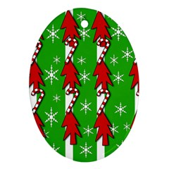 Christmas pattern - green Ornament (Oval)