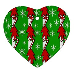Christmas pattern - green Ornament (Heart)