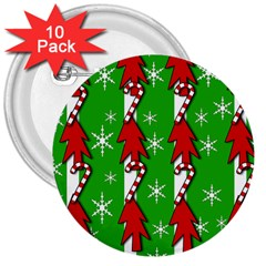 Christmas pattern - green 3  Buttons (10 pack)