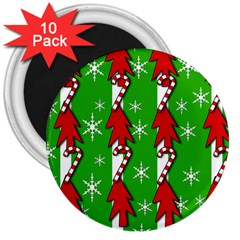 Christmas pattern - green 3  Magnets (10 pack)
