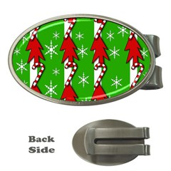 Christmas pattern - green Money Clips (Oval)