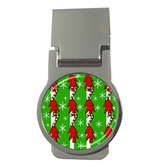 Christmas pattern - green Money Clips (Round)