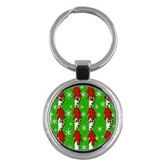 Christmas pattern - green Key Chains (Round)
