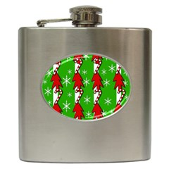 Christmas pattern - green Hip Flask (6 oz)