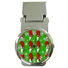 Christmas pattern - green Money Clip Watches