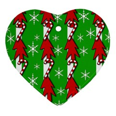 Christmas pattern - green Heart Ornament (2 Sides)