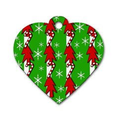 Christmas pattern - green Dog Tag Heart (Two Sides)