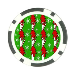 Christmas pattern - green Poker Chip Card Guards