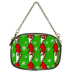 Christmas pattern - green Chain Purses (Two Sides)
