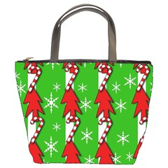 Christmas pattern - green Bucket Bags