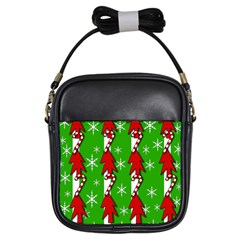 Christmas pattern - green Girls Sling Bags