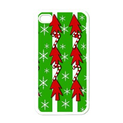 Christmas pattern - green Apple iPhone 4 Case (White)