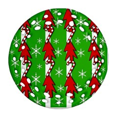 Christmas pattern - green Round Filigree Ornament (2Side)