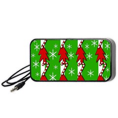 Christmas pattern - green Portable Speaker (Black)