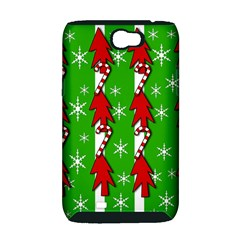 Christmas pattern - green Samsung Galaxy Note 2 Hardshell Case (PC+Silicone)