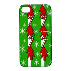 Christmas pattern - green Apple iPhone 4/4S Hardshell Case with Stand