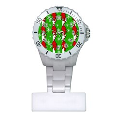 Christmas pattern - green Plastic Nurses Watch