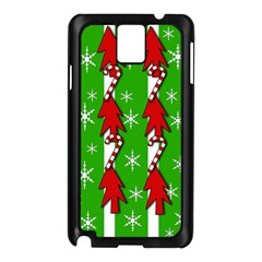 Christmas pattern - green Samsung Galaxy Note 3 N9005 Case (Black)