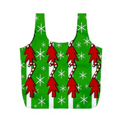 Christmas pattern - green Full Print Recycle Bags (M)