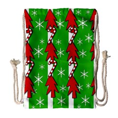 Christmas pattern - green Drawstring Bag (Large)