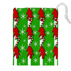 Christmas pattern - green Drawstring Pouches (XXL)