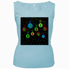 Christmas balls Women s Baby Blue Tank Top