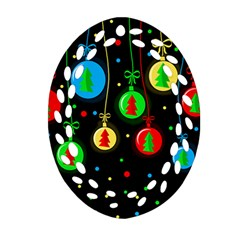 Christmas balls Oval Filigree Ornament (2-Side)