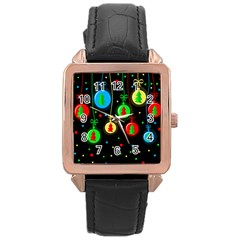 Christmas balls Rose Gold Leather Watch