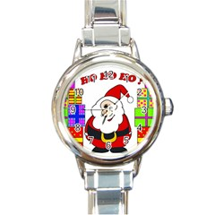 Santa Claus pattern - transparent Round Italian Charm Watch