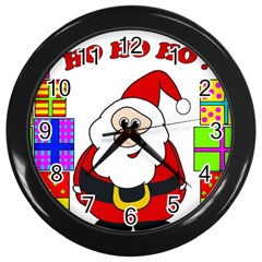 Santa Claus pattern - transparent Wall Clocks (Black)