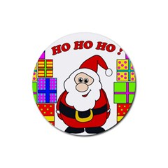 Santa Claus pattern - transparent Rubber Round Coaster (4 pack)
