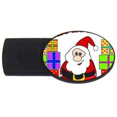 Santa Claus pattern - transparent USB Flash Drive Oval (1 GB)