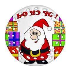 Santa Claus pattern - transparent Ornament (Round Filigree)