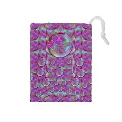 Paradise Of Wonderful Flowers In Eden Drawstring Pouches (medium)