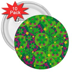 Christmas decor - green 3  Buttons (10 pack)