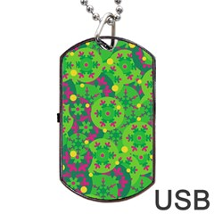 Christmas decor - green Dog Tag USB Flash (One Side)