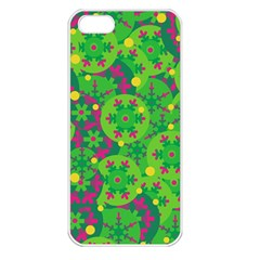Christmas decor - green Apple iPhone 5 Seamless Case (White)