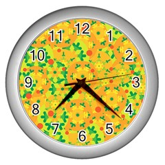 Christmas decor - yellow Wall Clocks (Silver)