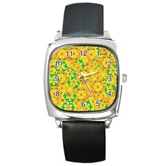Christmas decor - yellow Square Metal Watch