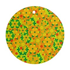 Christmas decor - yellow Round Ornament (Two Sides)