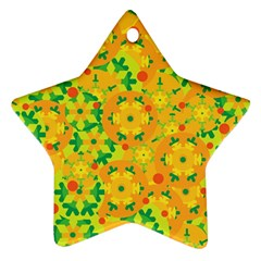 Christmas decor - yellow Star Ornament (Two Sides)