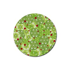 Green Christmas decor Rubber Round Coaster (4 pack)