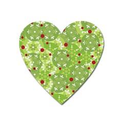 Green Christmas decor Heart Magnet
