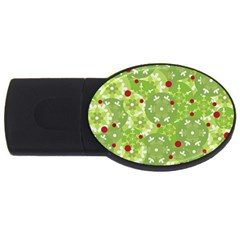 Green Christmas decor USB Flash Drive Oval (1 GB)