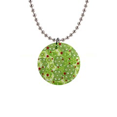 Green Christmas decor Button Necklaces